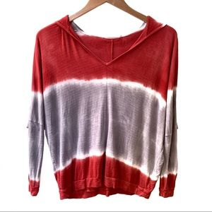 Language Tie Dyed Hooded Long Sleeve Tee Red XS